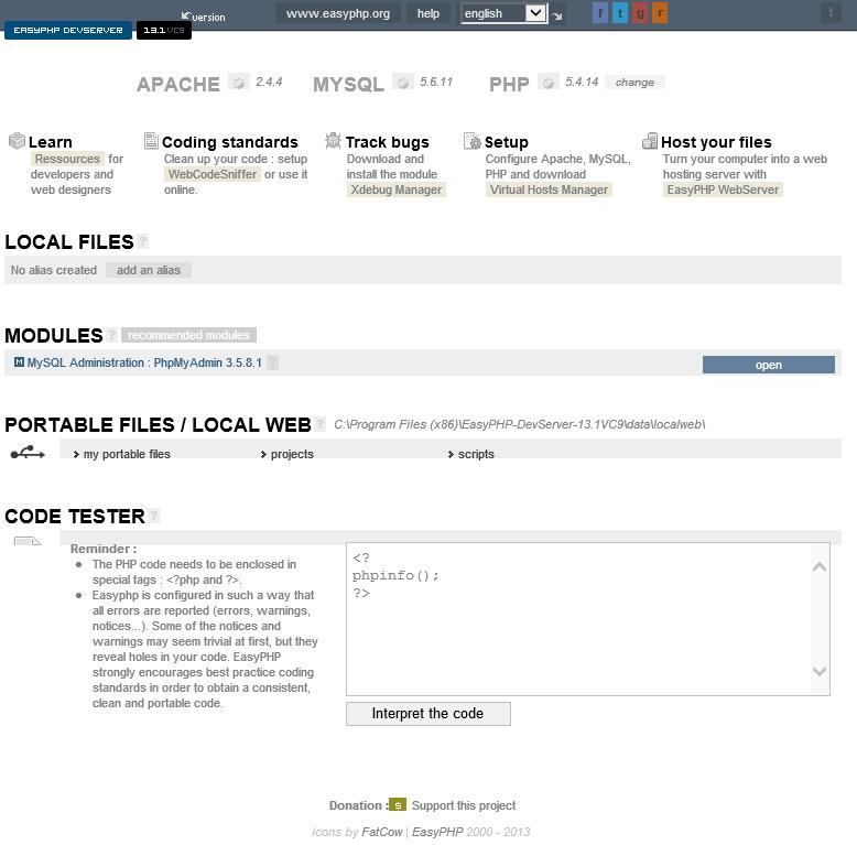 easyphp web server 13.1